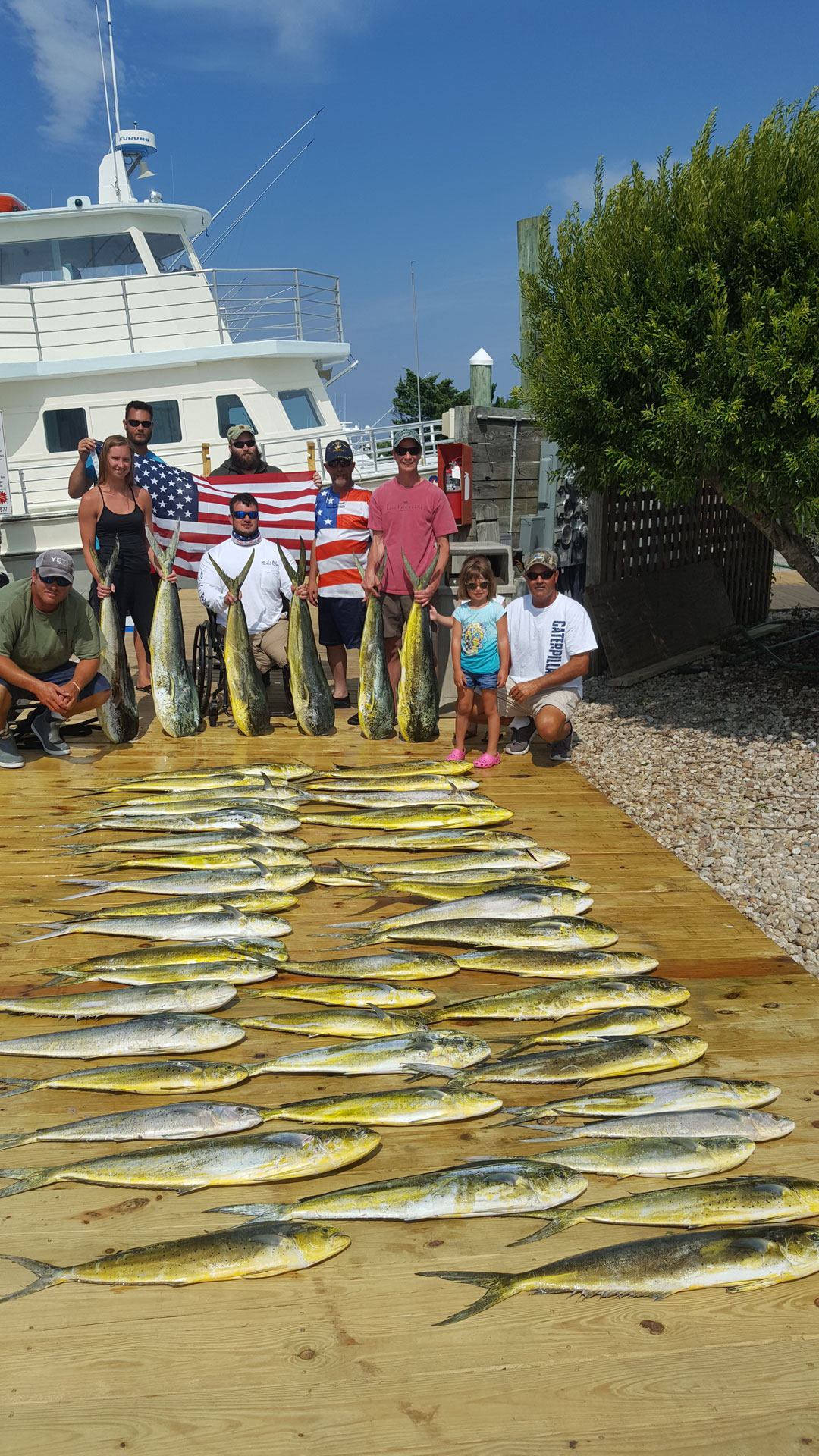 One of the most enjoyable days I've had running a charter boat. All these guys are veterans and it was awesome seeing them have such a good time. 49 dolphin weighed 460 lbs. Still a beautiful class of fish. The group picture with the flag and the other pictures with the gentleman in the wheelchair with his kids did my heart Good. We really need to be more thankful for these individuals and the freedoms we have Individuals