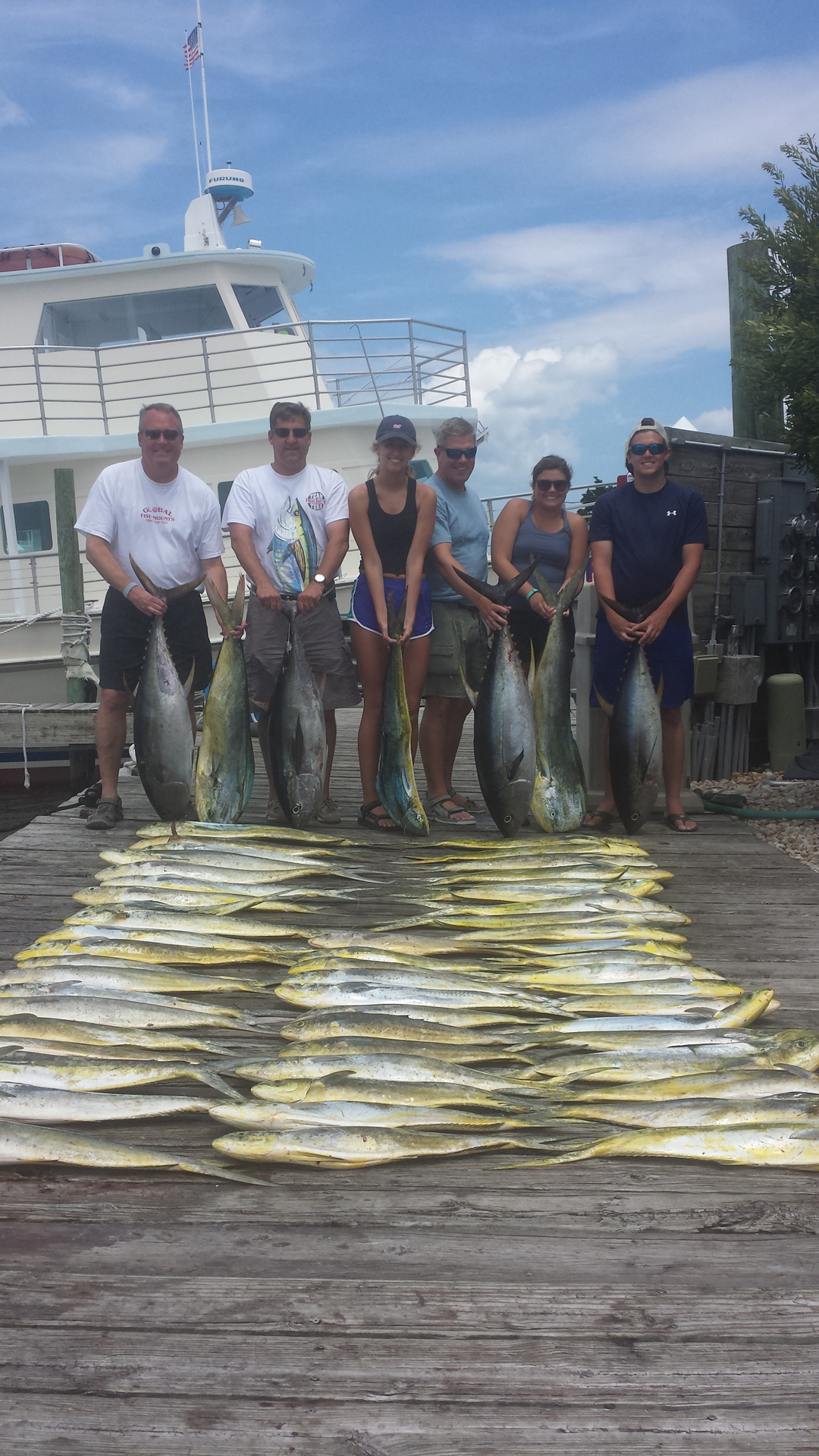 A rough day with great fishing. One out of two is not bad. Dolphin and tuna again. Came in early as a couple of girls were not feeling well. 506 lbs of fish. Try again tomorrow